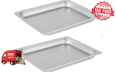 "2 PACK 1/2 SIZE Standard Weight Anti-Jam 1 1/4"" Deep Stainless Steel Hotel Pan"
