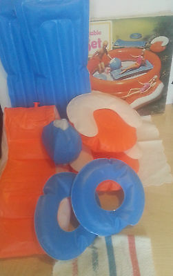 Vintage 1970s Inflatable Pool Furniture Deck Chair beds chairs rings ball towel