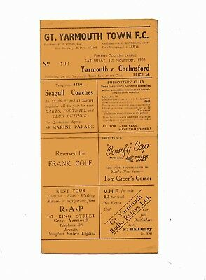 Great Yarmouth v Chelmsford res match programme 1958