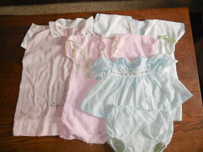 5 Piece Lot of Vintage/Antique Baby Clothes Gowns Sets Embroidered