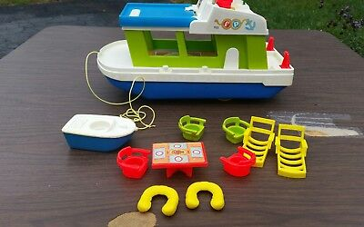 Vintage Fisher Price Little People HAPPY HOUSEBOAT Boat Set #985