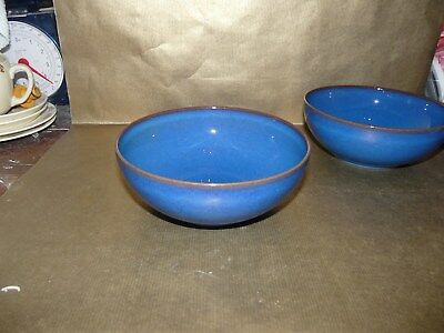 """denby imperial blue small cereal / soup bowl 6.5"""" diameter blue inside and out"""
