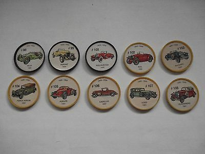 Jell-O Promotion Lot Of 10 Different Plastic Coins Car  Vintage Lot # 10