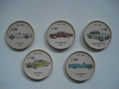 Jell-O Promotion Lot Of 5 Different Plastic Coins Car  Vintage Lot # 18