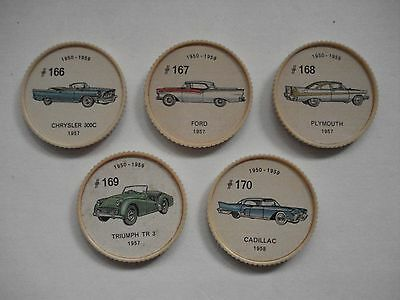 Jell-O Promotion Lot Of 5 Different Plastic Coins Car  Vintage Lot # 20