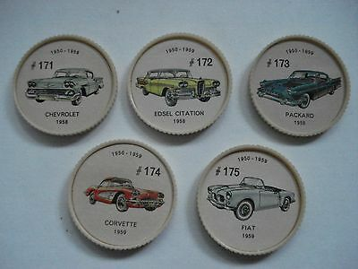 Jell-O Promotion Lot Of 5 Different Plastic Coins Car  Vintage Lot # 21