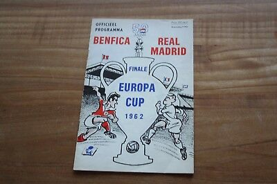 1962 rare  programme final Europeancup 1 Benfica-Real Madrid 02-05-1962