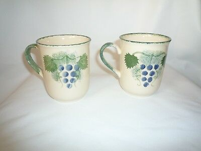 Two Poole Pottery Vineyard Straight Sided Flaired Rim Mugs