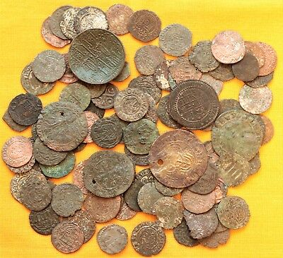 Lot of 100 Medieval Silvered and Bronze Coins - 12 - 19. Century