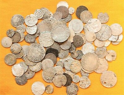 Lot of 100 Medieval Silver Coins 12-19. Century