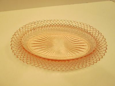 "Anchor Hocking Depression Pink 10.5"" Oval Platter Miss America English Hobnail"