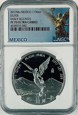 2017 1oz. Silver Libertad Proof*Treasure Coin of Mexico ™NGC PF 70 Early Release
