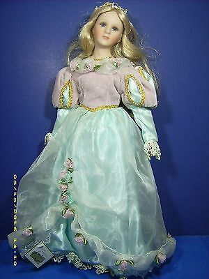Collections Etc. Porcelain Doll Princess  Very Fine Condition 18 Inches Tall.