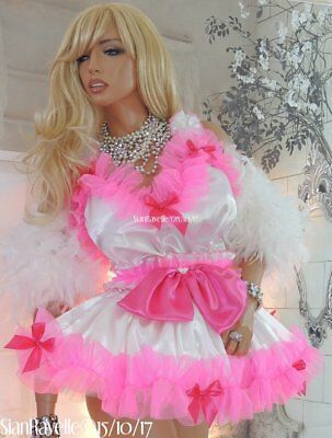 Sian Ravelle Sissy White Satin Pink Frilly Fancy Baby Doll Cd Lolita Maid Dress