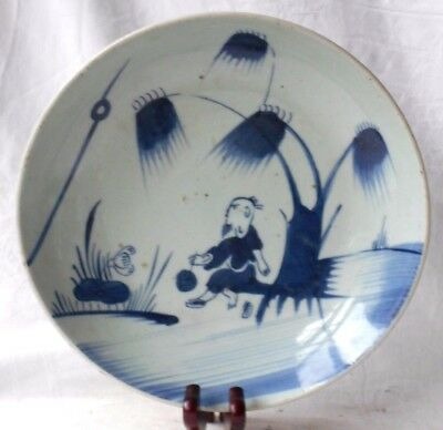 Late C19Th Chinese Blue And White Dish Decorated With Man Under Tree Export Seal