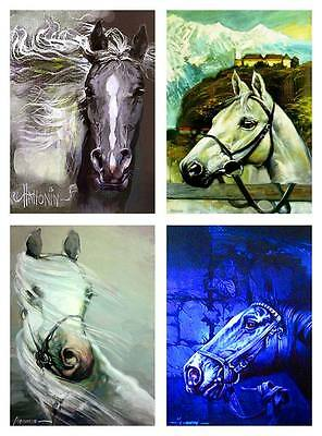 Set of 4 ACEO Horses Head / LE Prints of Original by Sergej Hahonin