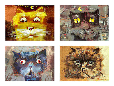 Set of 4 ACEO Cat / LE Prints of Original by Sergej Hahonin