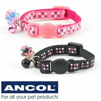 Kitten / Small Cat Collar Stars Pattern Ancol Safety Buckle & Warning Bell / Gem