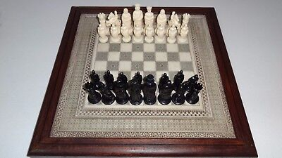 "Vintage Heavy Chess Board and Retro 1960's ""Roxy"" Chess Set Made in Hong Kong"