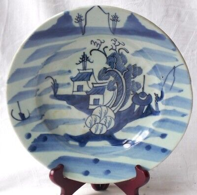 Late C19Th Chinese Blue And White Dish With Buildings Tree And Man Fishing