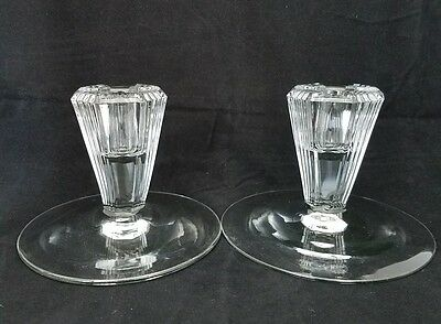 Beautiful Vintage Cut Crystal Candle Holders Glass Vertical Lines Octagon Tapers