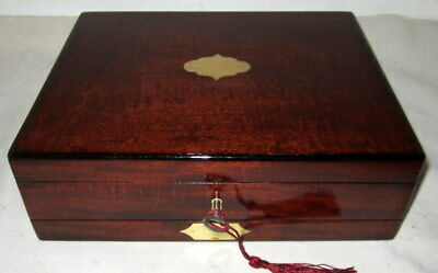 LOVELY EARLY VICTORIAN SOLID MAHOGANY & BRASS BOX WITH DRAWER  and key