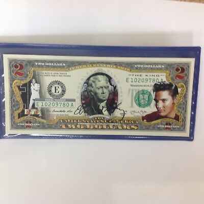 ELVIS PRESLEY Legal Tender USA $2 Dollar Bill WITH GOLD LASER AUTO ! Certified