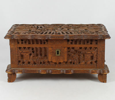 19Th C Chinese Carved Wood Box  Canton  Scenic Panels