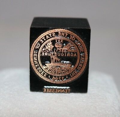 The Great Seal of Tennessee Copper Plate Printer Block Stamp Letterpress