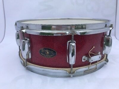 """Vintage 1967 Stewart Snare Drum 5x14"""" Red Sparkle Neil Peart Clean Japan Rare"""