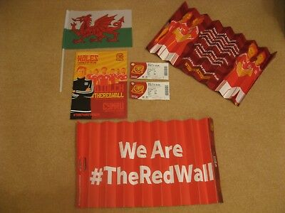 Wales v Republic of Ireland 2017 football programme, 2 tickets,flag, 2 clappers