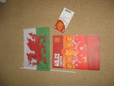 Wales v Austria world cup football programme , match ticket and flag