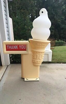 Vintage Dairy Queen Lighted Cone Drive Through Sign NOS! Man Cave DQ With Box A+