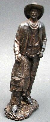 """Cowboy With Saddle  Figurine Statue Bronze Look Resin 12.5"""" Tall  Western Decor"""