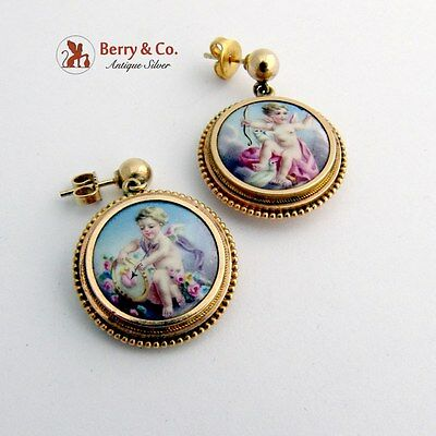 Victorian Hand Painted Plaque Dangle Earrings 14 K Gold