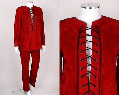 VINTAGE EARLY 70's ANNE KLEIN 2 PC RED SUEDE LEATHER TUNIC TOP PANTS SUIT SET M