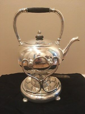 Antique EG Webster Repousse SP Tilting Tea Kettle