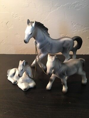 Vintage China Gray Horse With Two Chained Ponies