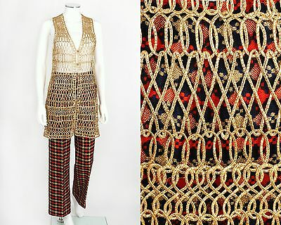 VTG LATE 60s EARLY 70s ANNE KLEIN 2PC MULTI-COLOR TWEED PANTS GOLD VEST SET RARE