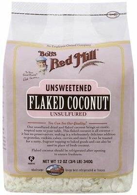 Bobs Red Mill Unsweetened Flaked Coconut, 12 Ounce 3/4 LB  340g