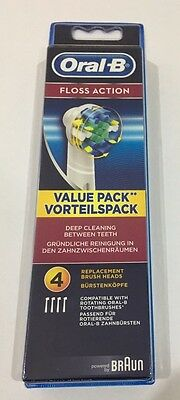 Braun Oral B Floss Action Pack Of 4 Toothbrush Heads Bnip 100% Authentic