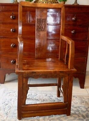 Antique Chinese official's highback arm chair - elm - 1800s - superb condition