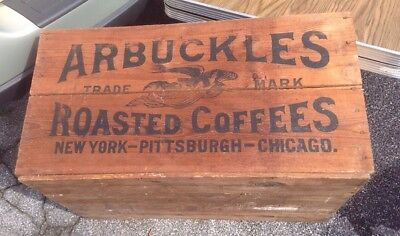 Antique ARBUCKLES ROASTED COFFEE, Wood Advertising Crate/Box FROM ESTATE !!