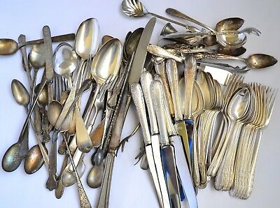 Vintage & Antique Mixed Silverplate Silverware Lot 90 Pieces Serving Craft