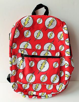 "DC Comics Backpack The Flash All Over Print 18"" Red With Yellow Lighting Bolts"