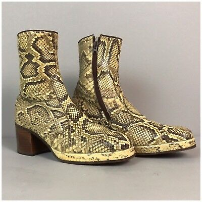 Vintage 1970s Genuine Snakeskin Zip Up Platform Boots Half Calf Length Men's 9