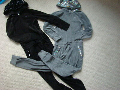 JUSTICE Girl's 8 BLACK GRAY Hooded velour JUMPSUIT Sequin FAMOUS SPARKLE LOT