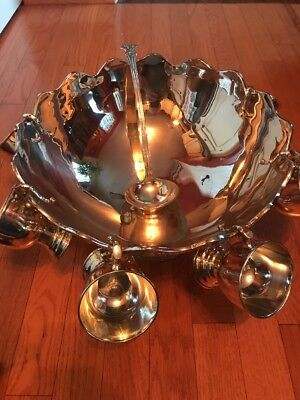 Vintage Silver Plated Punch Bowl And 6 Cups With Ladle