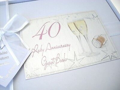 40th Ruby Anniversary, Guest Book, Champagne Glasses