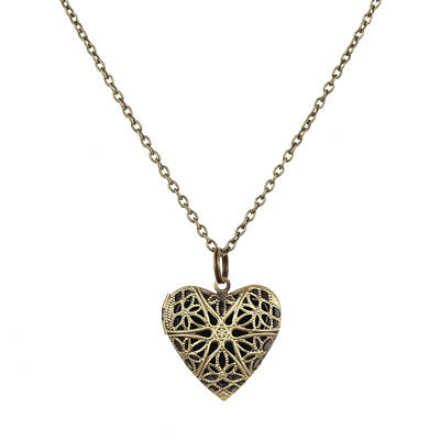 ORNATE BIG 5cm HEART pendant NECKLACE puffed VINTAGE BRASS antique bronze LONG